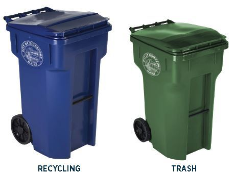 Recycling vs Trash Bins