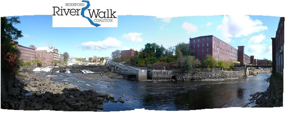 Biddeford Riverwalk Coalition logo is above a photograph of the RiverWalk.