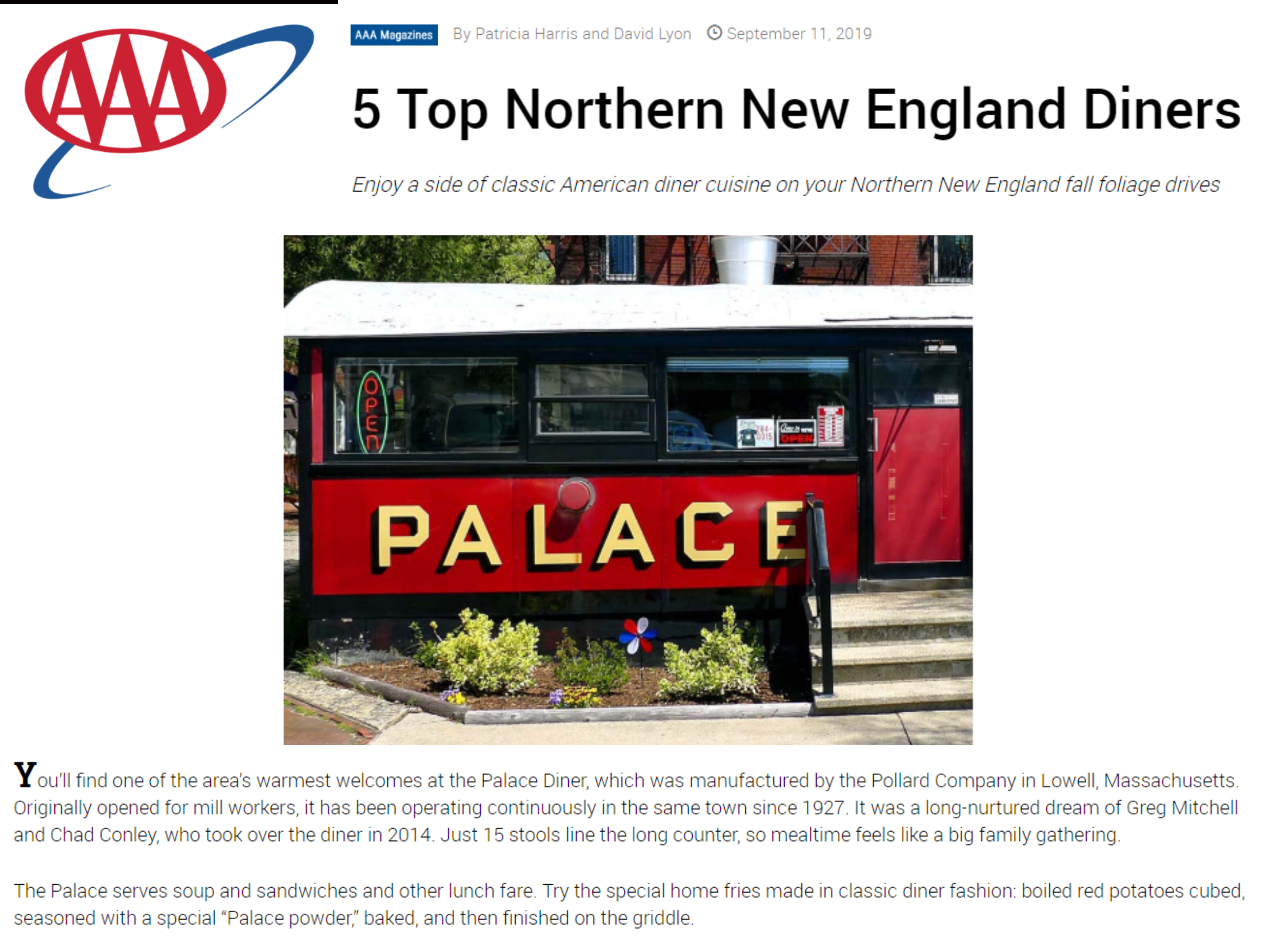 AAA Palace Diner Article